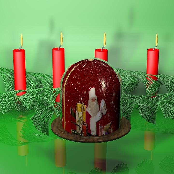 Candles, Santa Claus, Ball, Glass, Festival, Holly