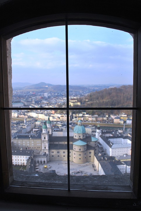 Window, Glass, Salzburg, Austria, Architecture, Skyline