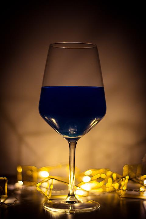 Wine, Cup, Light, Blue, The Lights, Lamp, Glass, Drink