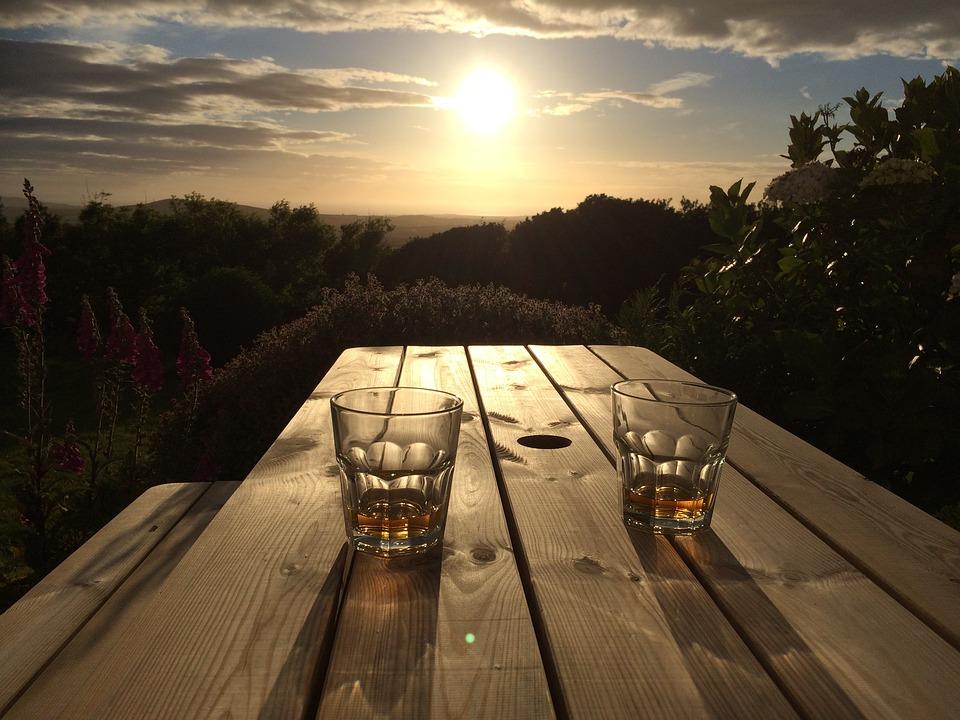 Sunset, Sunrise, Glass, Whiskey, Wood, Bench, Nature