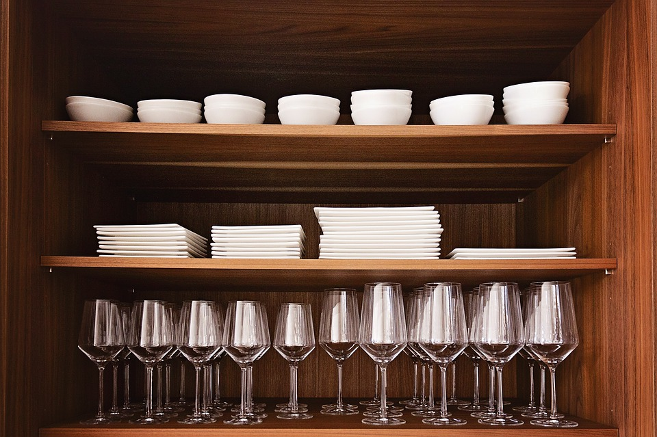 Wood, Shelf, Glasses, Tableware, Cover, Drink, Cabinet