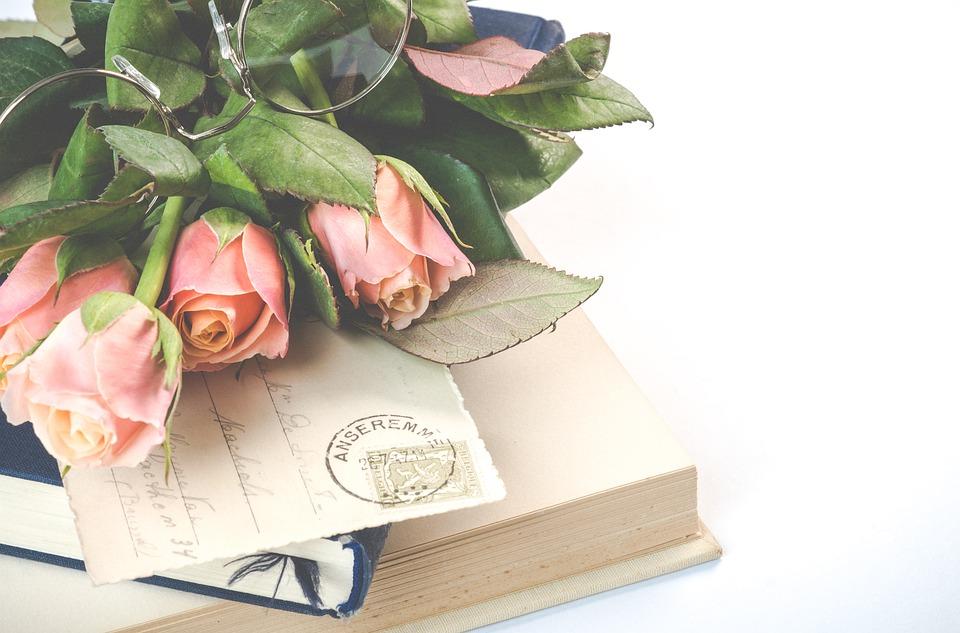 Vintage, Glasses, Old, Book, Cards, Postcards, Flowers