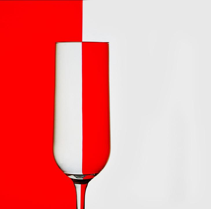 Glass, Red, White, Glasses, Reflection, Mirroring
