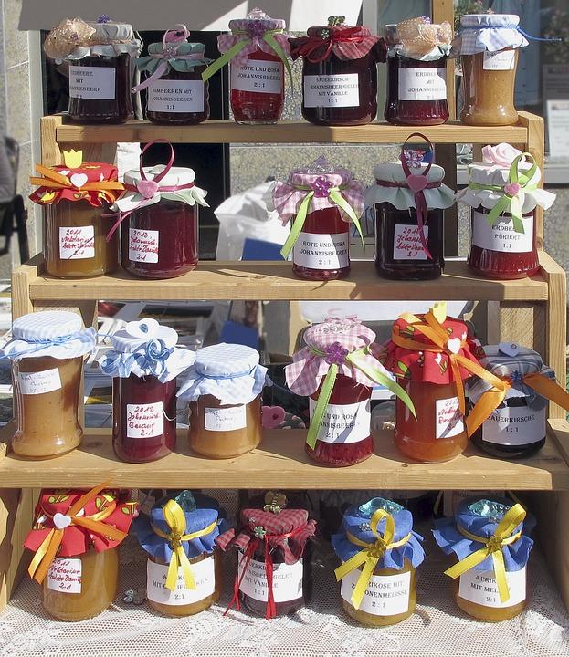 Jam, Homemade, Glasses, Jelly, Sales Stand, Shelf
