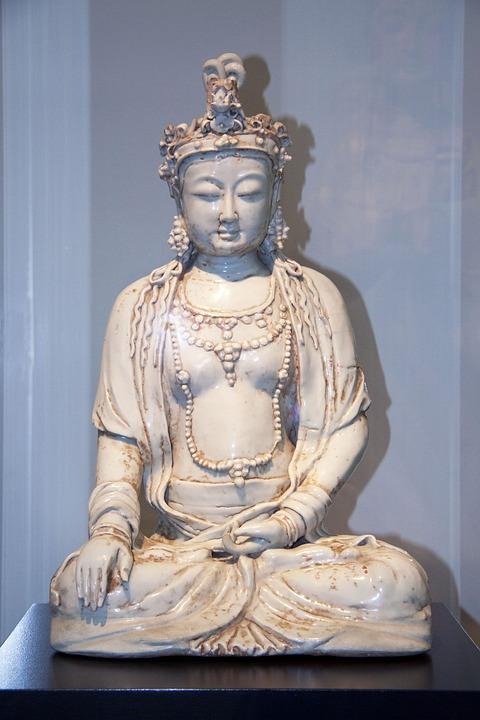 Buddha, Clay Sculpture, Glazed, Fig, Deity, Statue