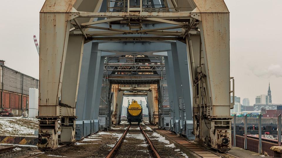 Architecture, Cranes, Port, Hamburg, Gleise, Train