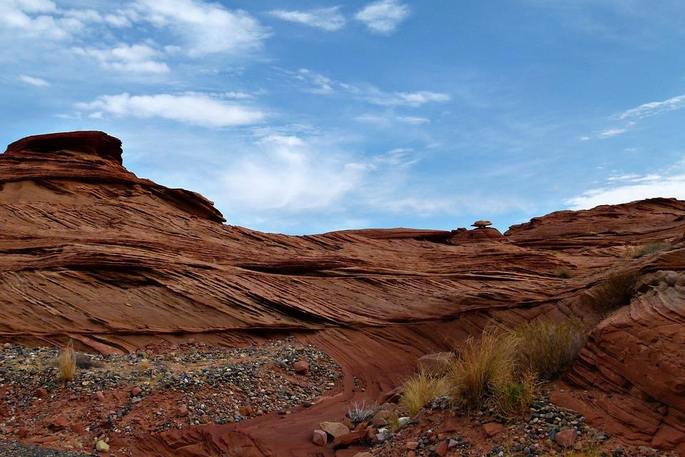 Glen Canyon, Arizona, Usa, Red, Rocks, Scenery