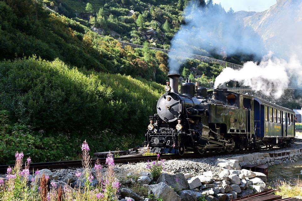 Steam Railway Furka-bergstrecke, Gletsch, Furka Pass