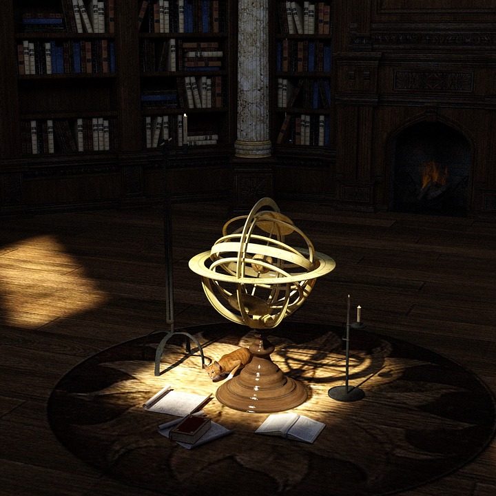 Library, Books, Globe, Parchment Scrolls, Cat