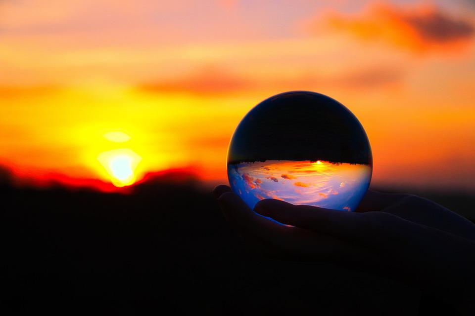 Sunset, Glass Sphere, Clouds, Sky, Horizon, Globe, Red