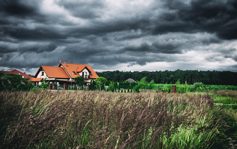House, Cottage, Clouds, Buildings, Storm, Gloomily