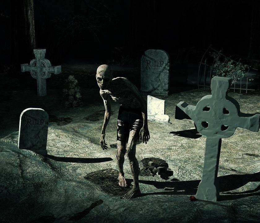 Free Photo Gloomy Cemetery Halloween Zombie Weird Horror