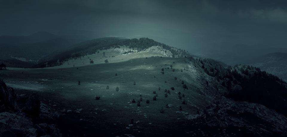 Dark, Darkness, Mountains, Nature, Hills, Night, Gloomy