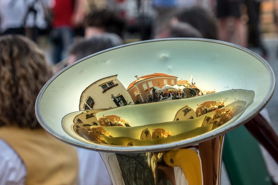 Mirroring, Music, Musical Instrument, Gloss, Tuba