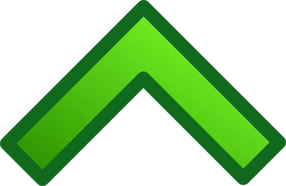 Arrow, Green, Glossy, Up, Upward, North