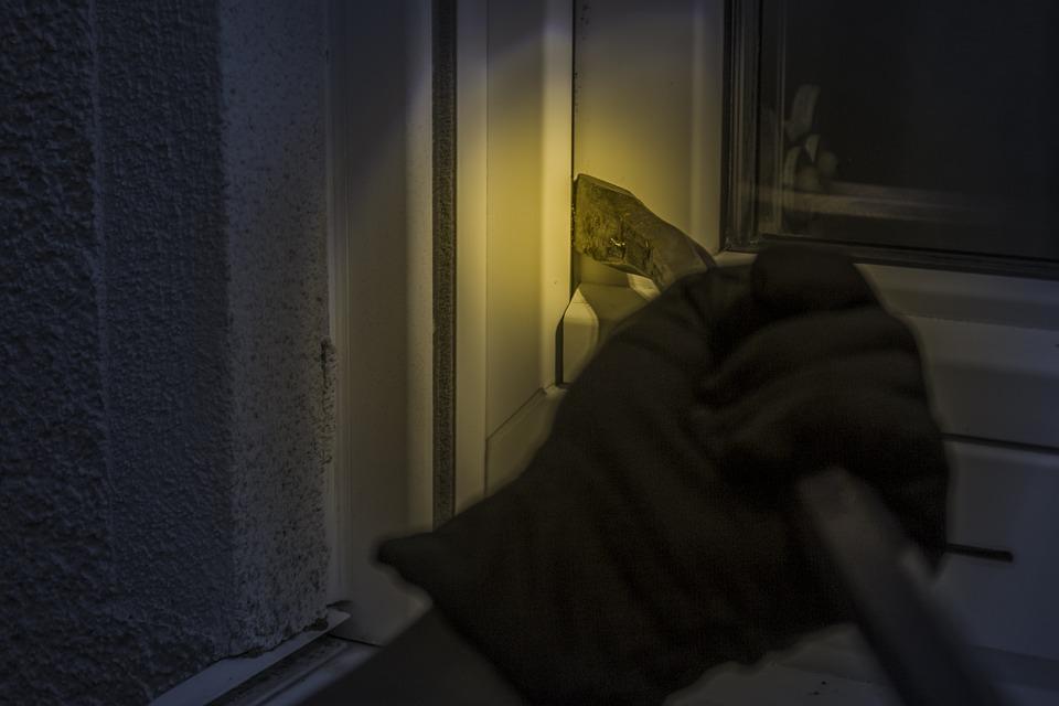 Burglar, At Night, Window, Crowbar, Flashlight, Glove