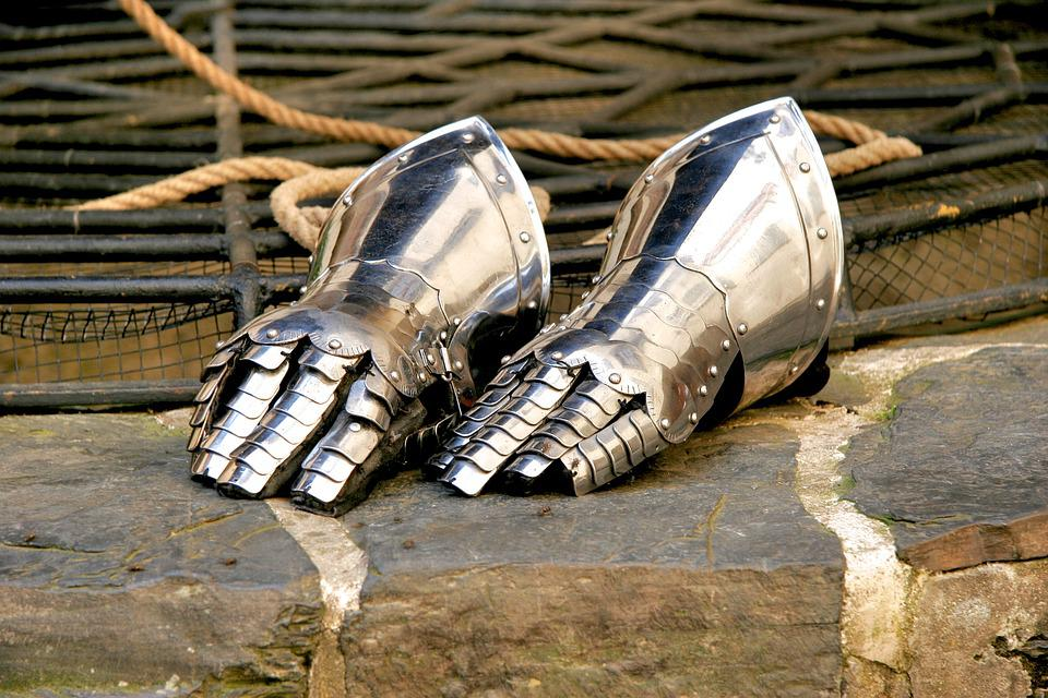 Knight, Glove, Armor, Metal, Historically, Protection
