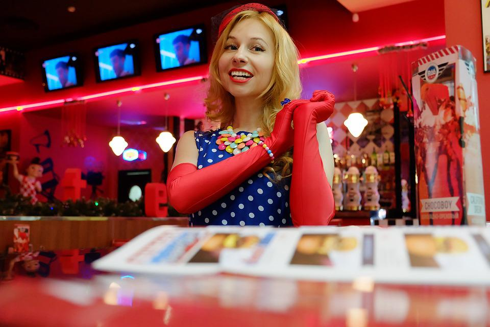 Girl, Lady, Diner, Route 66, Gloves, Retro, 50's Theme