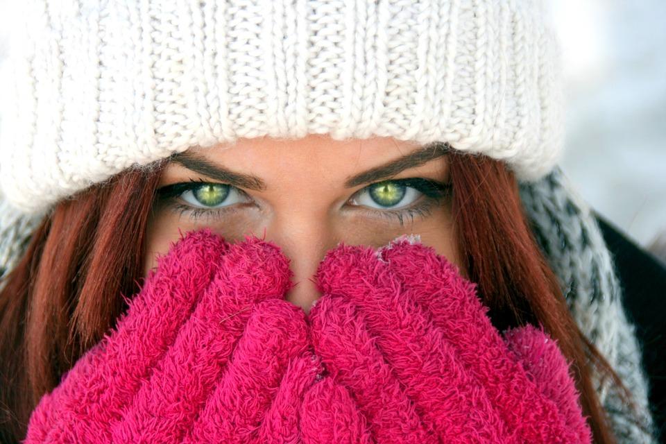 Girl, Green Eyes, Red Hair, Beauty, Winter, Gloves