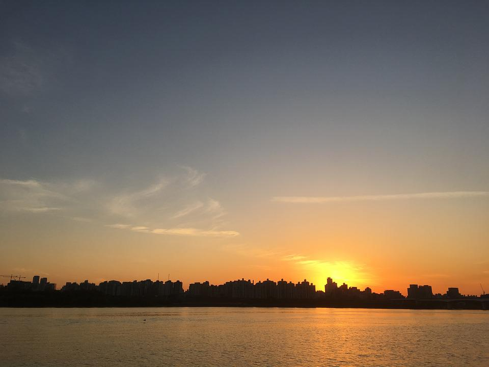 Yacht, Glow, Sunset, In The Evening, Korea, Han River