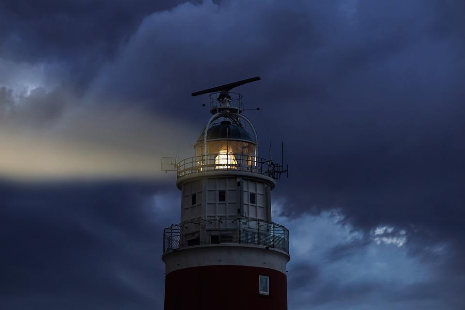 Lighthouse, Evening, Light, Sky, Clouds, Glow, Rays