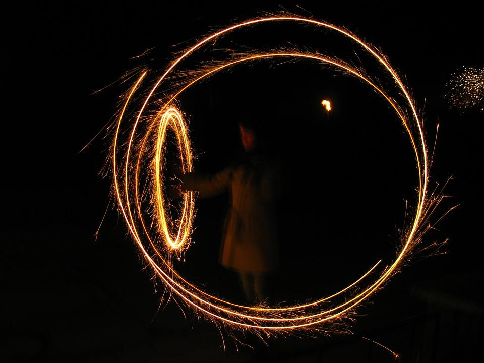 New Year's Eve, Sparkler, Circle, Glowing