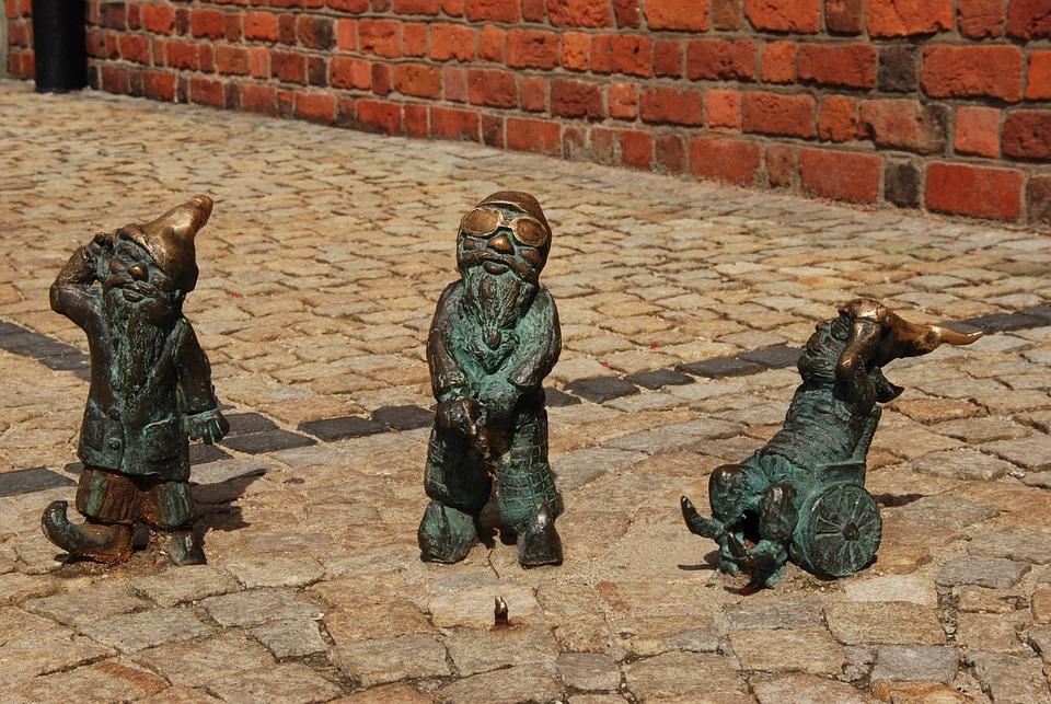 Poland, Wrocław, Gnome, Image, Brass, Art, Work Of Art