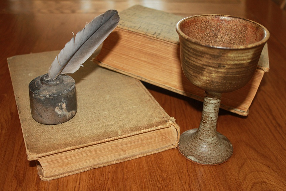Goblet, Chalice, Drink, Inkwell, Ink Pot, Books