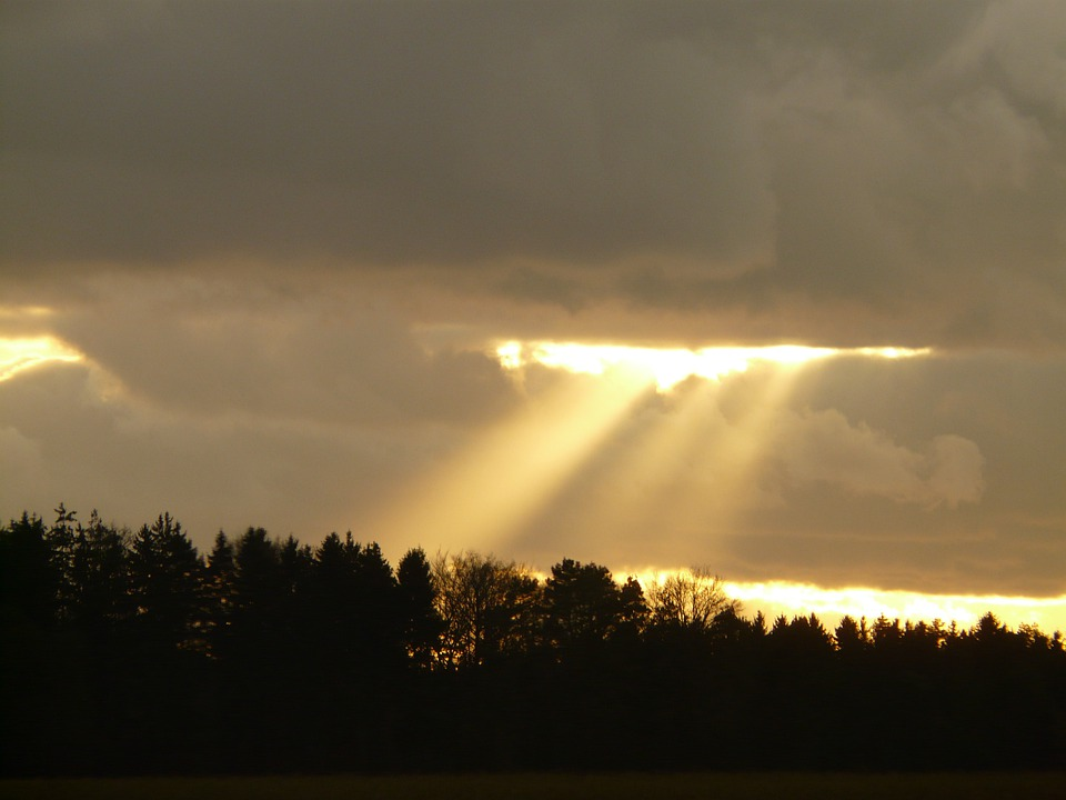 Clouds, Sky, Sun, Sunbeam, Opening, God, Faith, Light