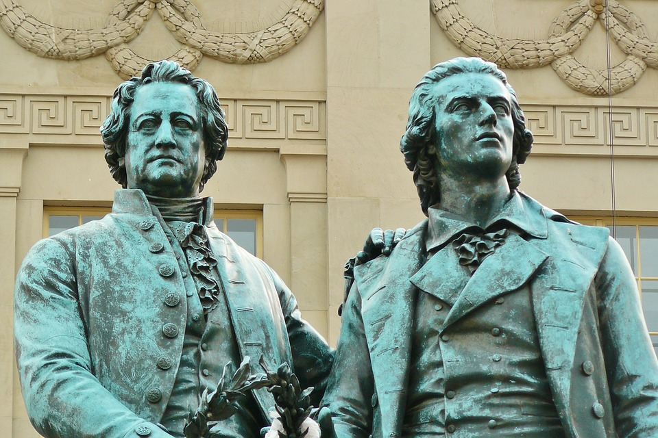 Weimar, Goethe, Schiller, Monument, Bronze, Art