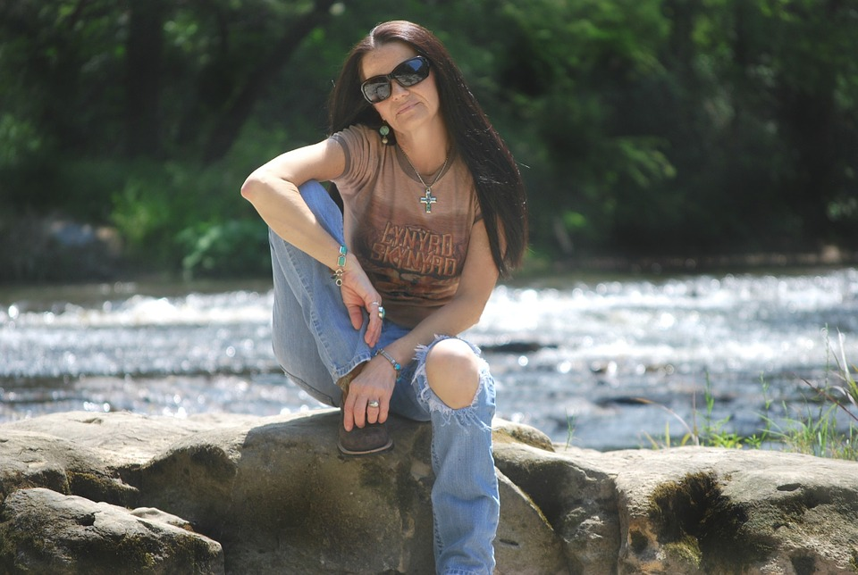 Woman, Jeans, Goggles, Sunglasses, Sitting, Rock, Pose