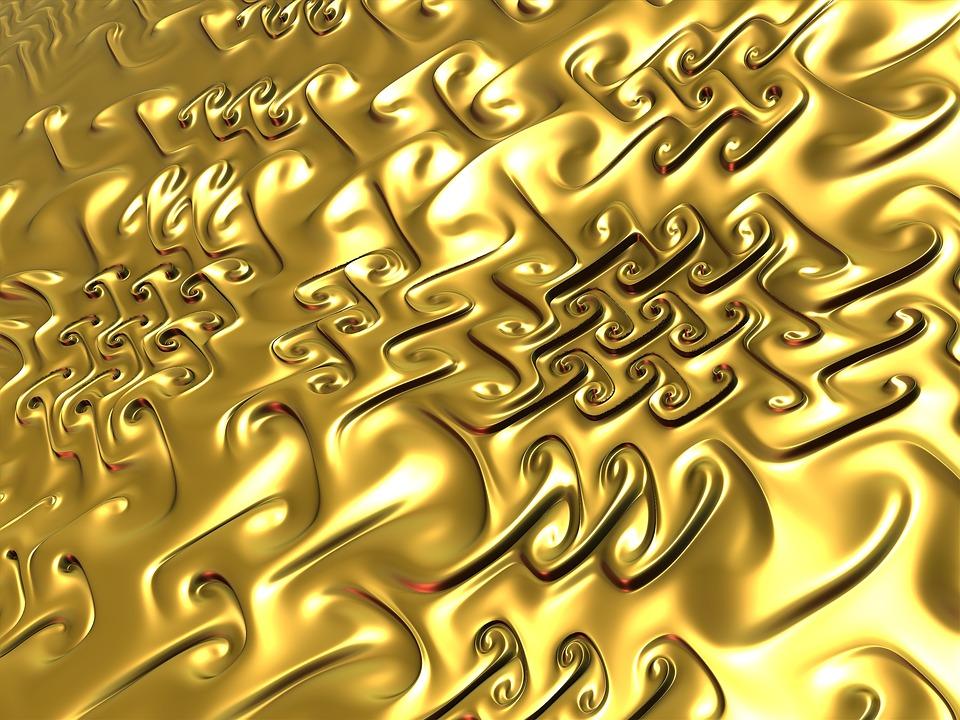 Fractal, 3d, Gold, Golden Texture, Texture