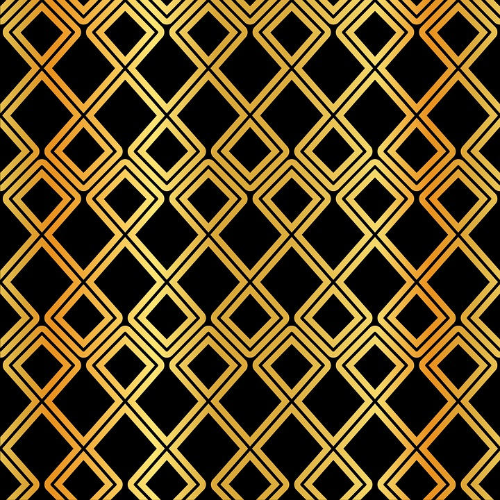 Arabic Pattern, Gold And Black, Gold Foil, Ramadan