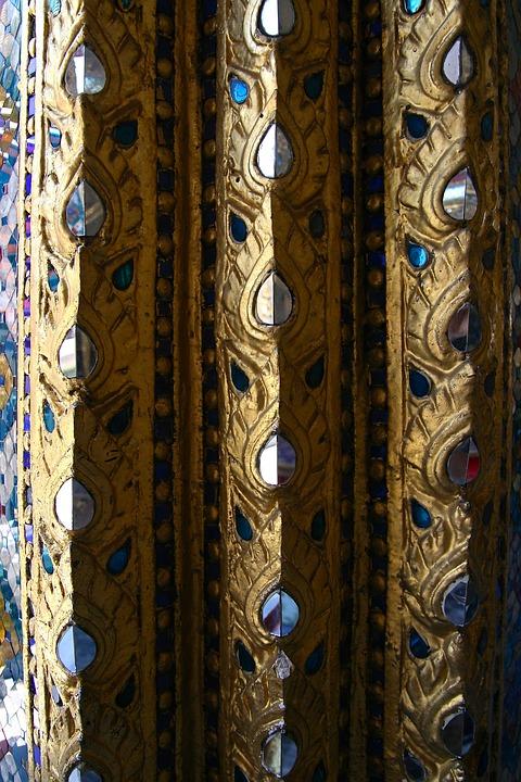 Pattern, Gold, Ornate, Thai, Temple, Architecture