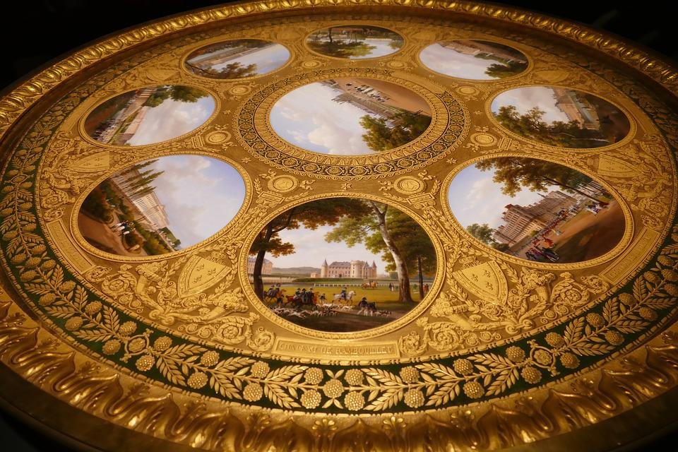 Table, Table Top, Around, Circle, Gold, Gilt, Castle