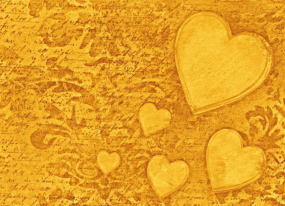 Gold Heart Background, Gold Background, Hearts
