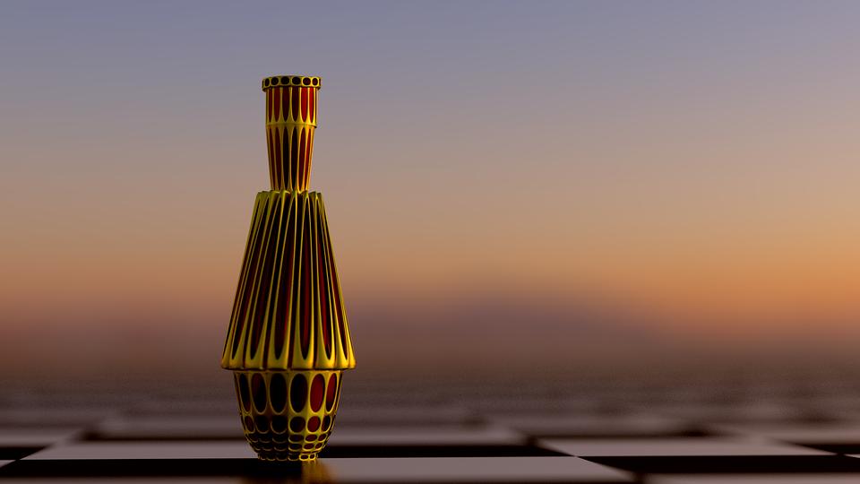 Bottle, Gold, Sunset