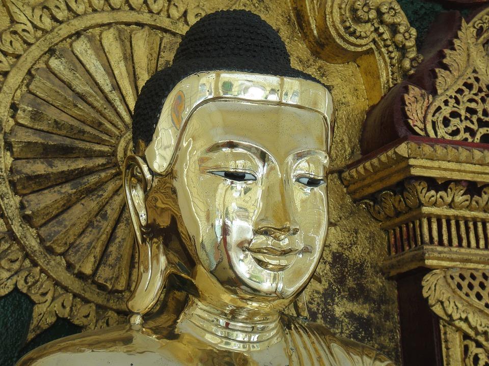 Gold, Buddha, Myanmar, Burma, Face, Serene, Buddhism
