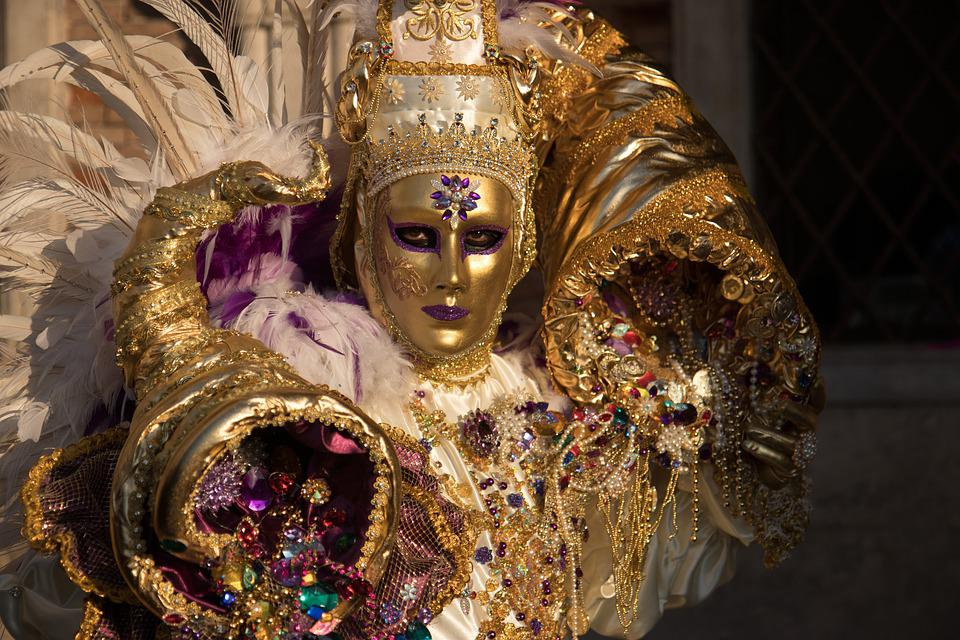 Venice, Carneval, Mask, Carnival, Gold, Ornament