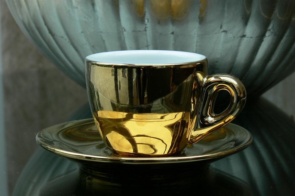 Cafe, Coffee, Luxury, Gold, Cup, Coffee Cup