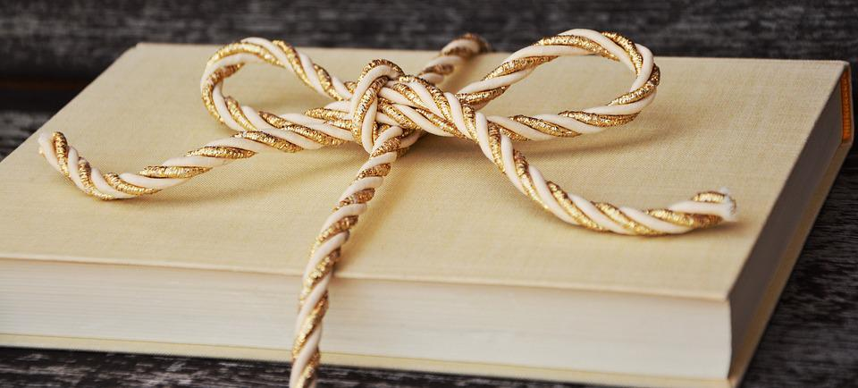 Book, Gift, Cord, Gold Cord, Golden, Packaging, Pack