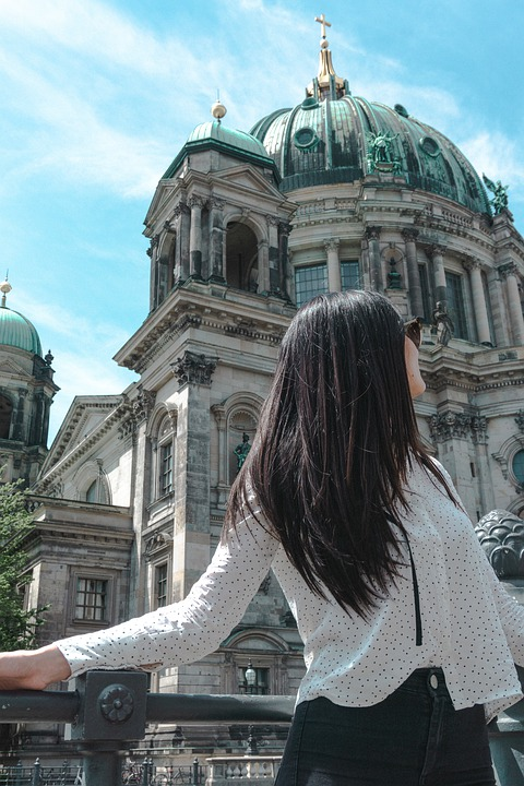 Woman, Dome, Berlin, Germany, Duomo, Gold, Summer