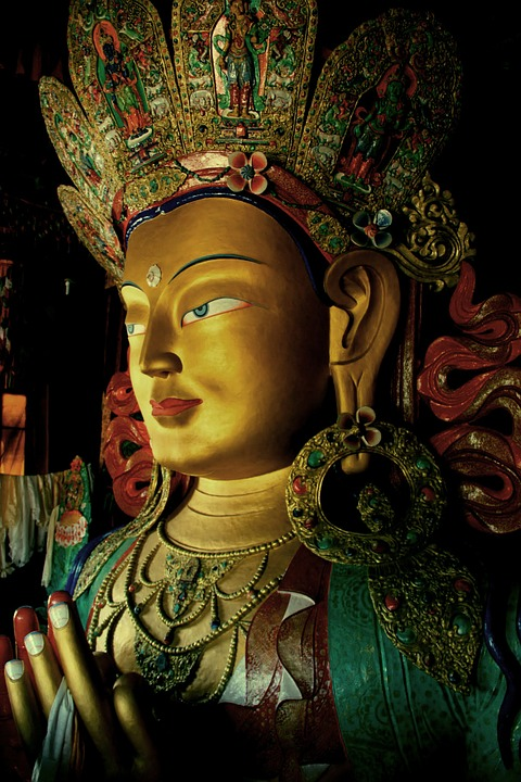 Ladakh, Tibet, India, Statue, Goddess, Gold