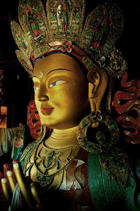 Ladakh, Tibet, India, Statue, Goddess, Gold