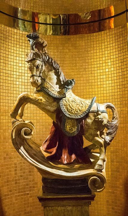 Horse, Statue, Tiles, Mosaic, Gold