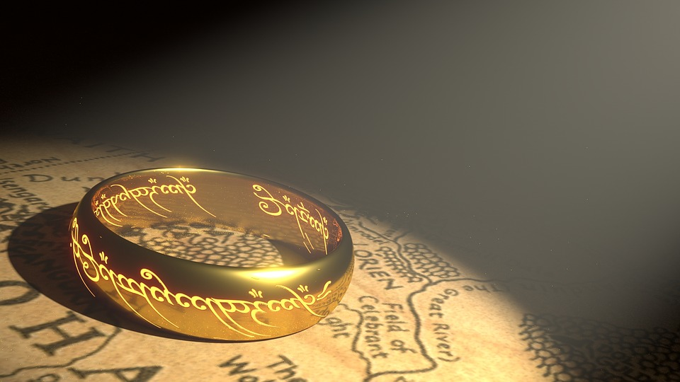 Ring, Gold, Middle Earth, Golden Ring, Metallic, Map