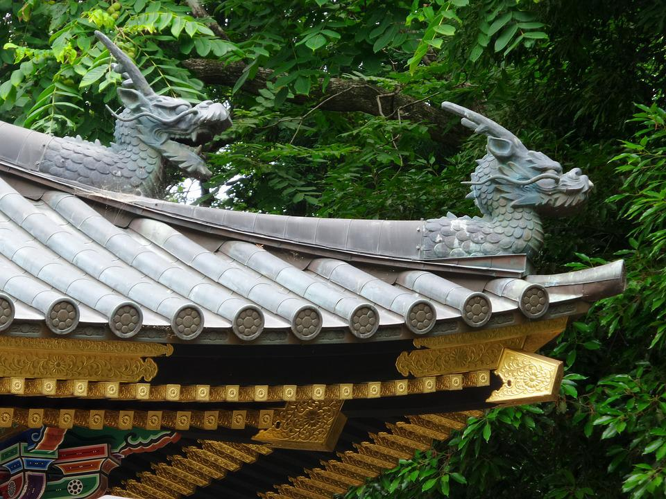Japan, Temple, Roof, Dragons, Ornament, Gold