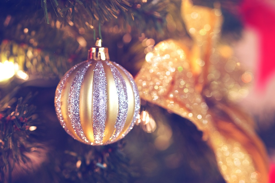 Free photo gold silver tree decorations christmas for Christmas tree with gold and blue ornaments
