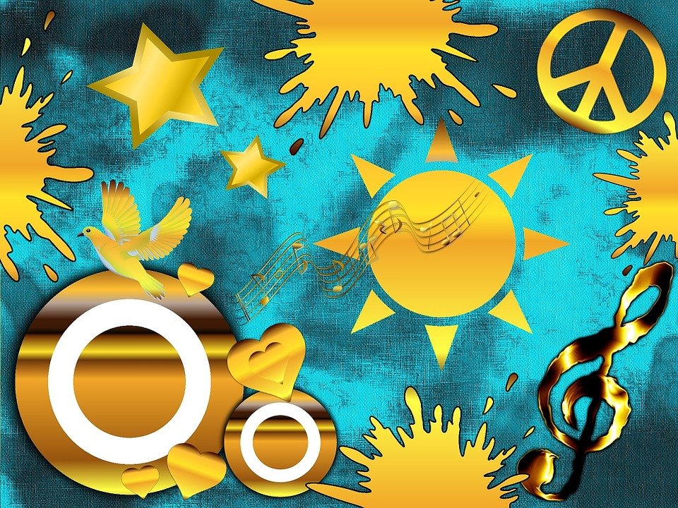 Gold, Music, Clef, Star, Dove, Harmony, Melody