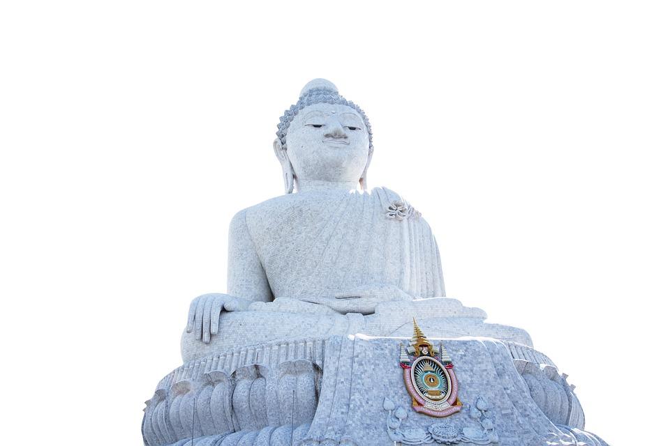 Buddha, Isolated, Gold, Golden, White, Statue, Thailand